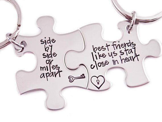 Side By Side Or Miles Apart Puzzle Piece Key by Stampressions, $30.00
