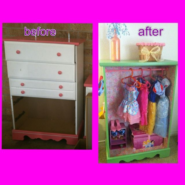 Repurposed Dresser Into Little Girls Dress Up Closet. Want To Do This With  The Old Dresser For Lyndsi