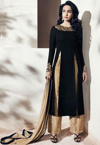 Black & Beige Georgette Salwar Kameez ,Indian Dresses - 1