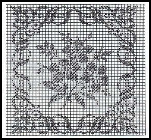 Crochet filet: Fotos de diseños - Patrón gratuito de crochet filet