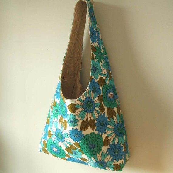 Turquoise and cobalt blue vintage fabric Dilly tote by pouch, £40.00