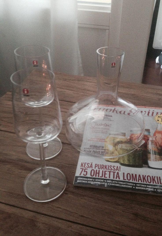 Iittala wine glasses - Essence and iittala decanter.