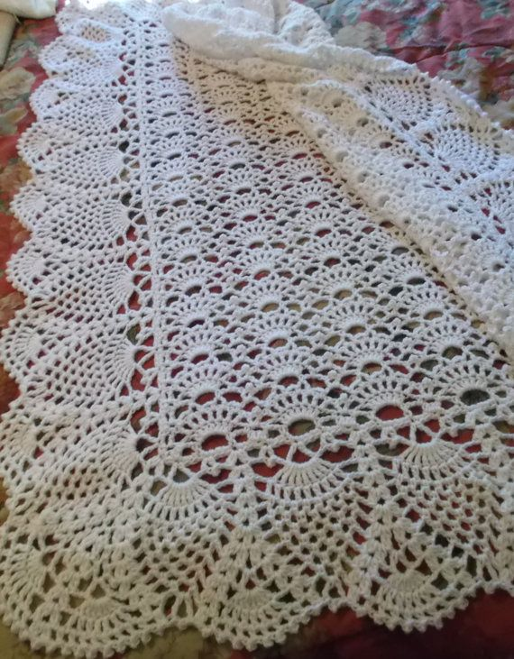 Crocheted White Baby Afghan