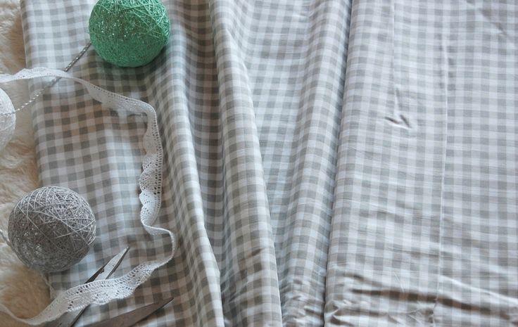 Tkanina bawełniana w szarą kratkę Fabrics grey check