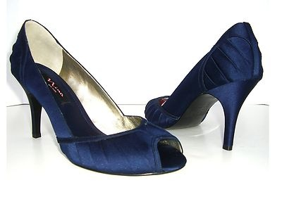 Navy Blue Satin Pumps