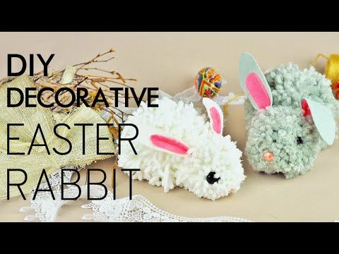 How to make DIY decorative pom pom Easter rabbit that will become a cute decor elements for your Easter interior! #diyrabbit #decorativeeasterrabbit #handmadebunny