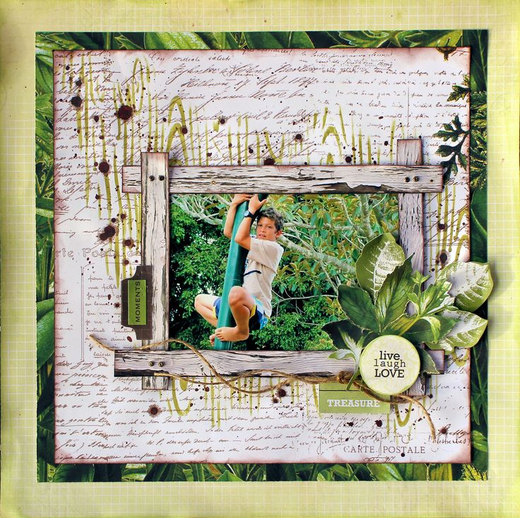 """Live Laugh Love"" layout by Cathy Cafun Design Team for Kaisercraft using 'Botanica' collection - Wendy Schultz ~ Scrapbook Pages 3"