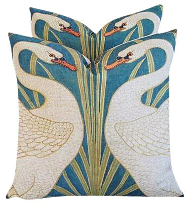 Swans Linen & Down/Feather Pillows - a Pair on Chairish.com