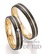 Abrikoos gouden zwarte trouwringen met diamant