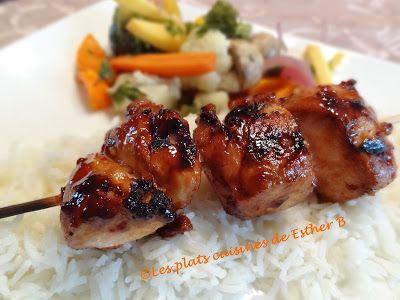 Les plats cuisinés de Esther B: Brochettes de poulet piquantes