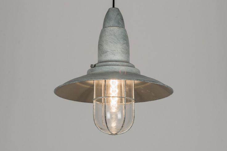 Pendelleuchte 10433 Klassisch Retro Industrielook Glas Metall grau rund