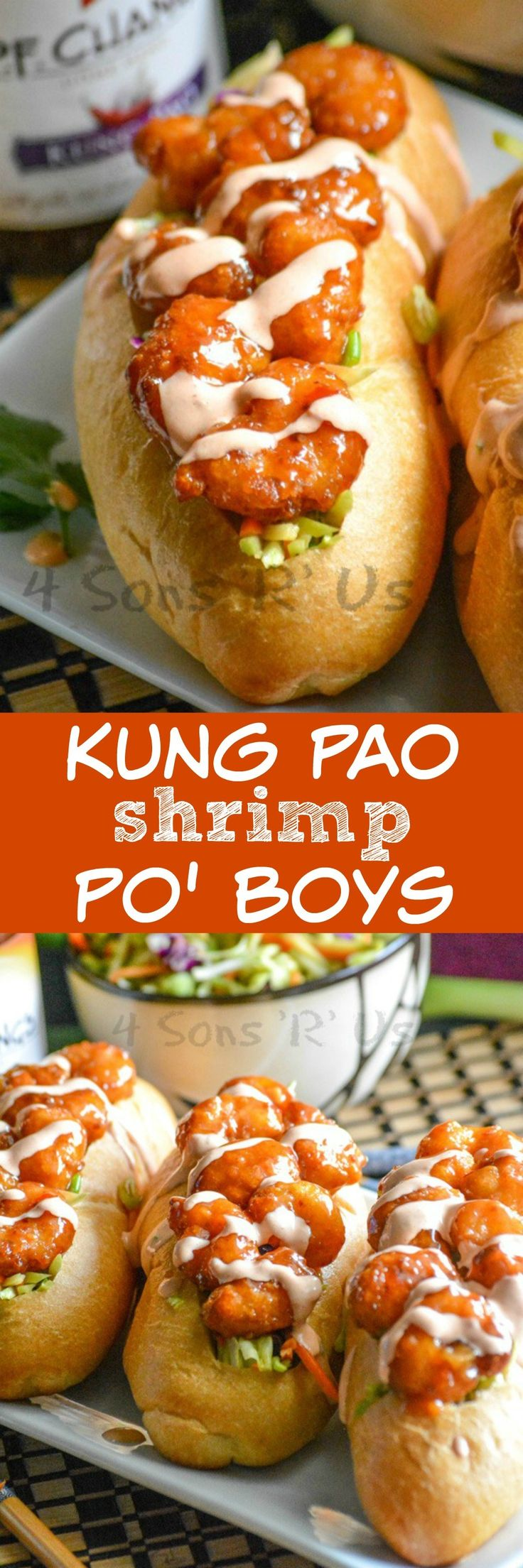 Crusty baguettes are stuffed with a tangy Asian slaw, topped with saucy Kung Pao shrimp, and drizzled with a sweet chili aoili. These Kung Pao Shrimp Po' Boys are a tasty spin on the classic Southern sandwich recipe. #SimpleSecret #ad @walmart Enter here for a chance to WIN a FREE trip to AZ >>> http://cbi.as/7wg-j