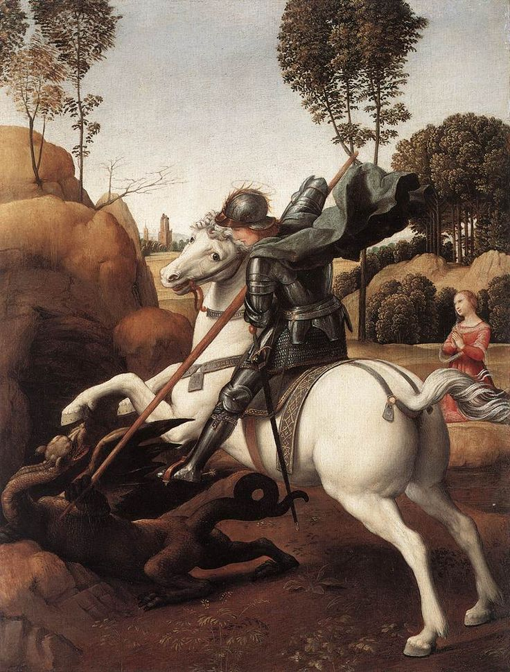 St George and the Dragon. 1505-06. Oil on wood, 28.5 x 21.5 cm. National Gallery of Art, Washington.