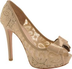 beige lace heels with bow