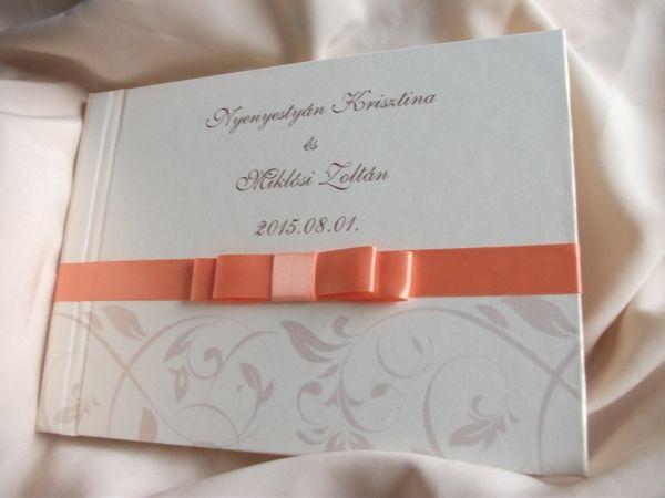 00074 - Vendégkönyv mintával és dupla masnival díszítve - Papírral bevont esküvői vendégkönyvek - Esküvői vendégkönyvek, emlékkönyvek - Webáruház - Esküvői meghívó, esküvői vendégkönyv, ültető és menükártya, köszönetajándék