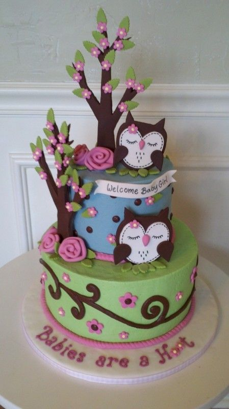 Owls!! Love the swirls: Baby Cake, Owl Theme, Baby Girl, Shower Cakes, Owl Cakes, Birthday Cake, Baby Shower