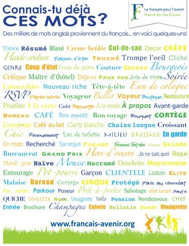 Two awesome free posters in PDF format. One shows a list of English/French cognates in a colorful format, the other lists reasons one should learn French. I've been looking for something like these for my classroom for EVER!