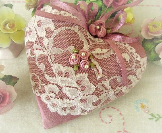 Valentine Heart Pillow 6 X 6 Door Hanger Rose by CharlotteStyle, $22.00
