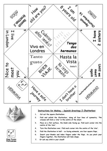 Spanish Greetings Activity - Chatterbox 2