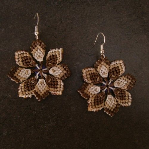 Handmade macrame Earrings, Flower shaped, Waxed brown, cream and white thread http://reignofknots.com/index.php?route=product/category&path=24