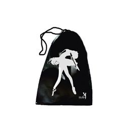 Black Pointe Shoe drawstring bag featuring ballerina design. 100% Cotton. Available from www.dancinginthestreet.com