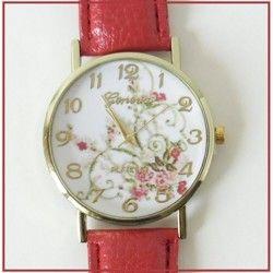 Prechádzku po rozkvitnutej lúke vám pripomenú tieto veselé dámske hodinky s červeným remienkom z eko kože :)