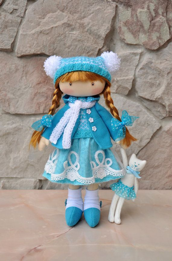 15% discount on Valentines Day, valid until February 14, Textile doll, decorative doll,collectible dolls , doll cotton, rag doll  Height of doll 38cm (15 inches) The doll is sewn of natural materials (cotton cloth). Clothing cannot be removed.  This doll is can be a gift for a girl.  Here you can see my other dolls https://www.etsy.com/ru/shop/NilaDolss?section_id=16775185&ref=shopsection_leftnav_1