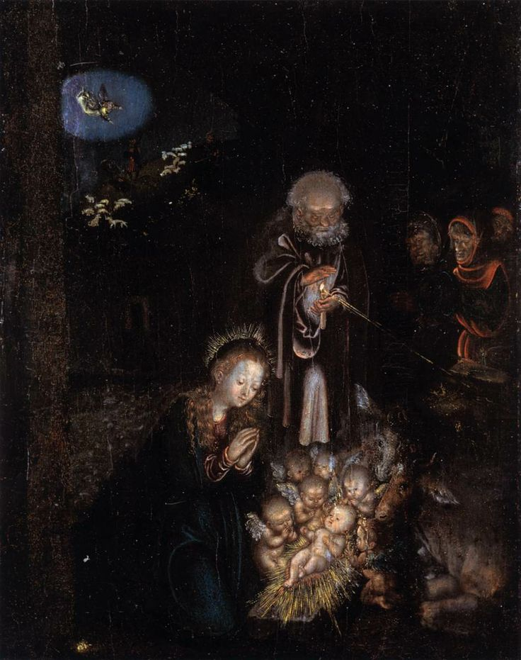 Lucas Cranach (1472 - 1553) The Nativity. 1515-20, Gemäldegalerie, Dresden.