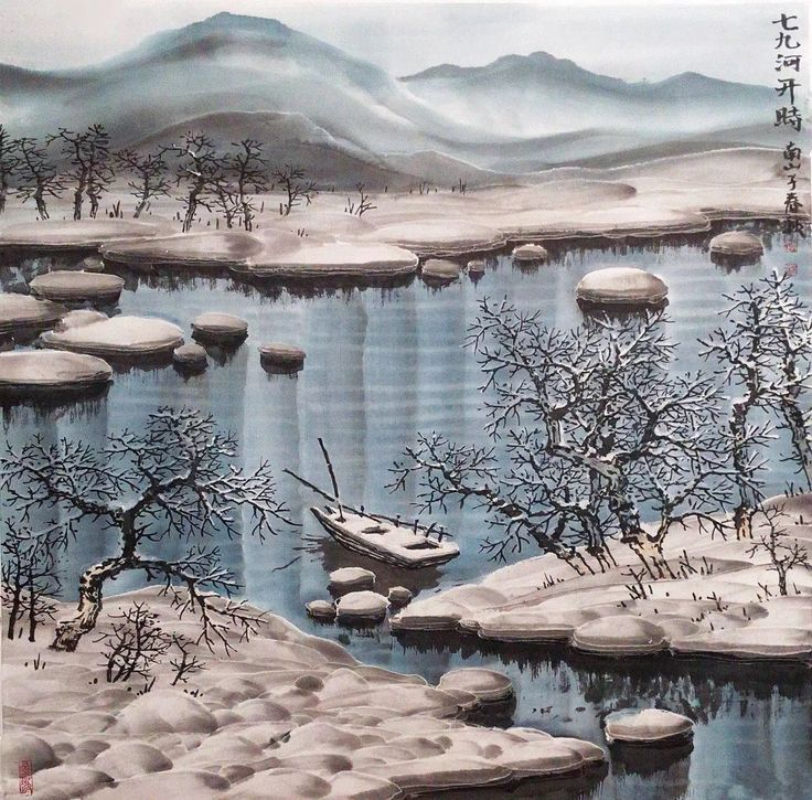 #winterlandscape #chinesewinterpainting #brushpaintingwinter