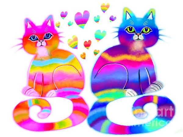 Colorful cats and hearts