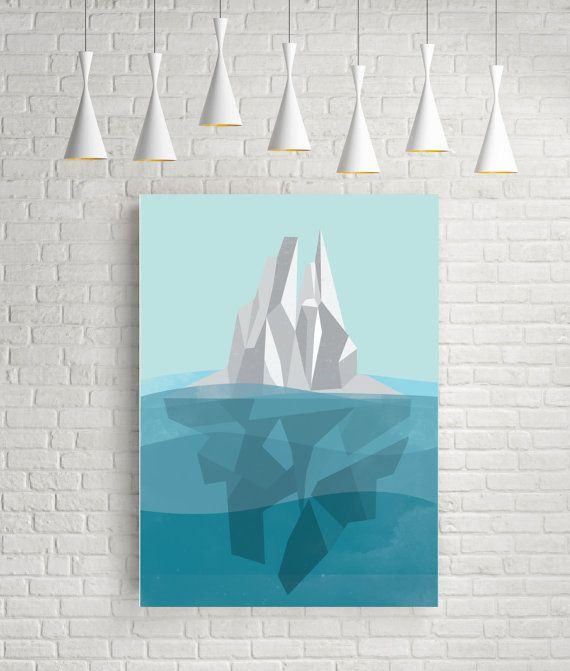 Iceberg geometric art print abstract wall art original by FLATOWL