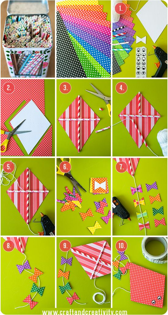 How to make a decorative paper kite with paper straws by Craft & Creativity.