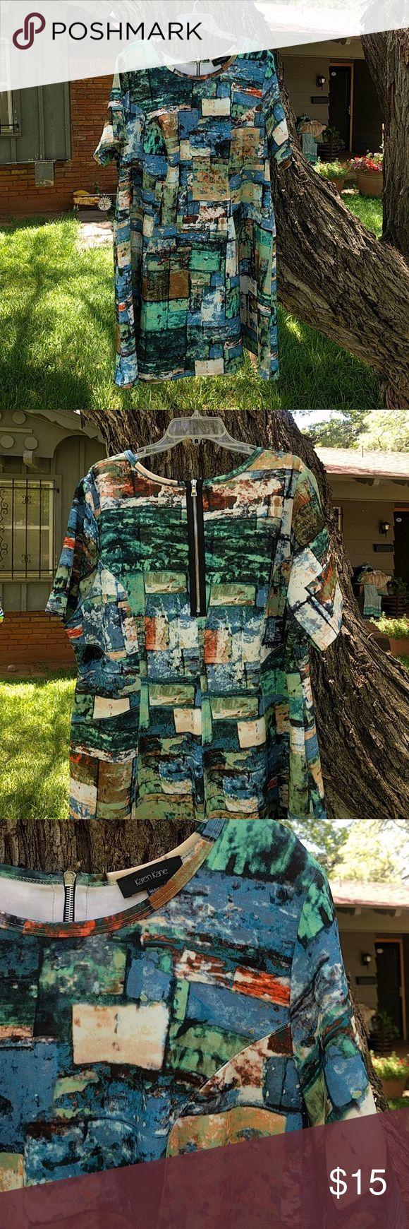Short sleeve, multi color dress Multi color, art pattern dress with zip back Karen Kane Dresses Mini