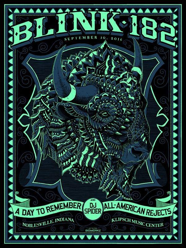 BioWorkz blink 182 Noblesville Poster Artist Edition Release