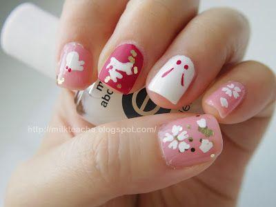 Japanese style rabbits nail design