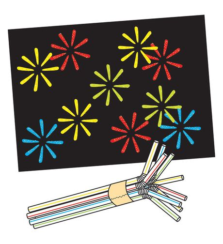 bundle eight to ten flexible drinking straws together and secure them with masking tape. Bend and spread the straws apart as shown. Prepare several stampers in this manner, varying the number of straws. To make a fireworks print, dip a stamper into a shallow tray of thick paint and press it on a sheet of black construction paper to resemble fireworks.