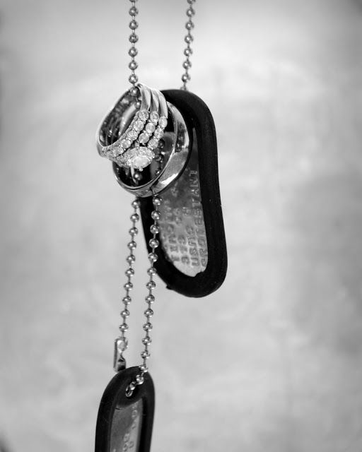 His dog tags and our wedding rings.... Good picture for @moxiethrift on etsy Grutzmacher