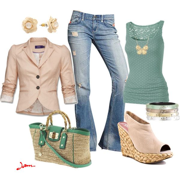 """""""peachygreen"""" by jayneann1809 on Polyvore, like the colors but slacks instead of jeans and flats"""