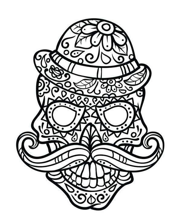 34 best Skull Coloring 3 images on Pinterest | Calaveras de azúcar ...