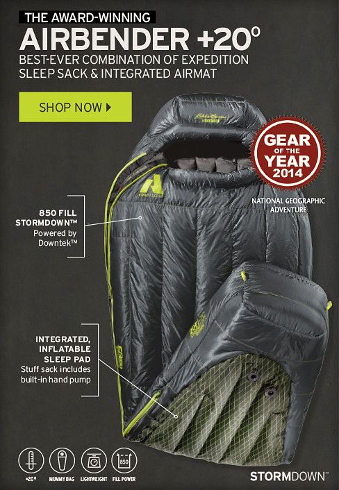 The Airbender 20 Sleeping Bag - Winner of National Geographic's 2014 Gear of the Year Award