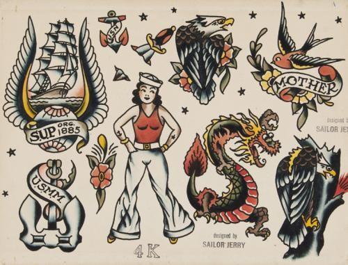 Sailor Jerry flash art sheet after treatment