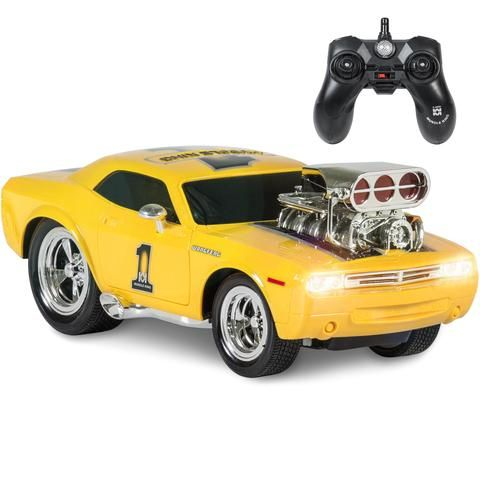 Best Choice Products 2.4 GHz Remote Control Drag Race Supercharger Muscle Car RC Toy Lights Sounds USB Charger - Yellow