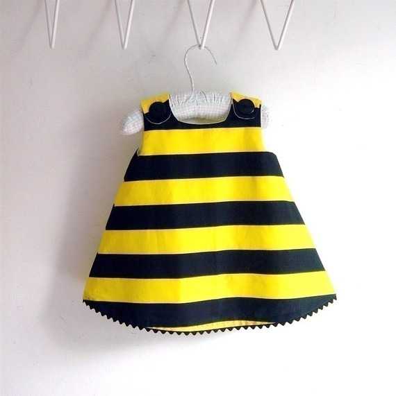 Bumblebee Bumble Bee infant or toddler dress - sizes newborn, 3m, 6m, 12m, 18m, 2t, 3t, 4t, 5, 6. $36.00, via Etsy.