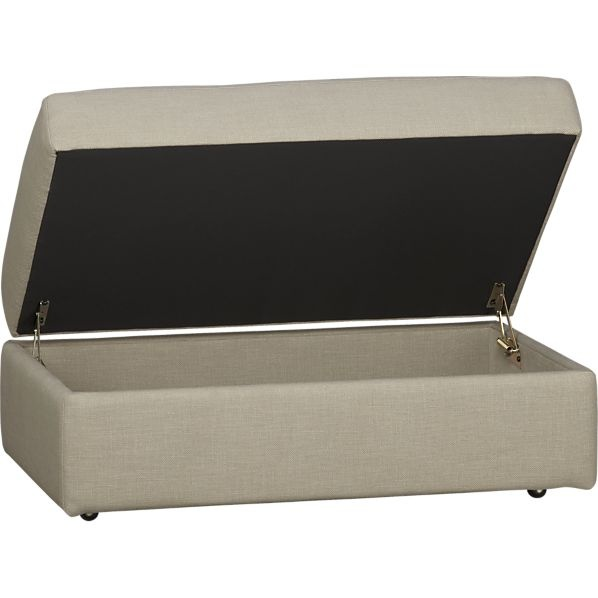 Lounge Storage Ottoman With Casters In Ottomans, Cubes | Crate And Barrel