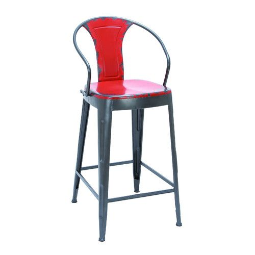 Vintage Style Metal Bar Chair Red Square Seat Arched Back Support Kitchen D