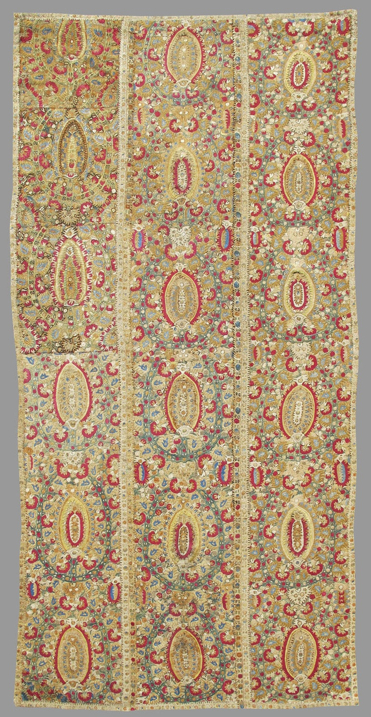 "Late-Ottoman embroidered panels, from the Epirus region (probably Ioannina), 18th century. The region was known both for its textiles and silver working. This colorful example draws large stylized palmettes based on persianate ""botehs"" or paisleys. The richly embroidered surface, lushness and variety of color, and clarity of drawing are indicative of the finest quality of work."