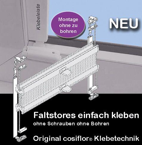 Plissee auf Maß - Montage mit der cosiflor® Klebeleiste. Plissee VS2-K