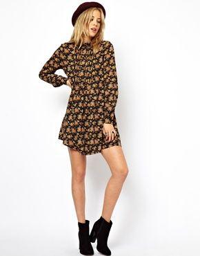 ASOS Shirt Dress In Winter Floral Print