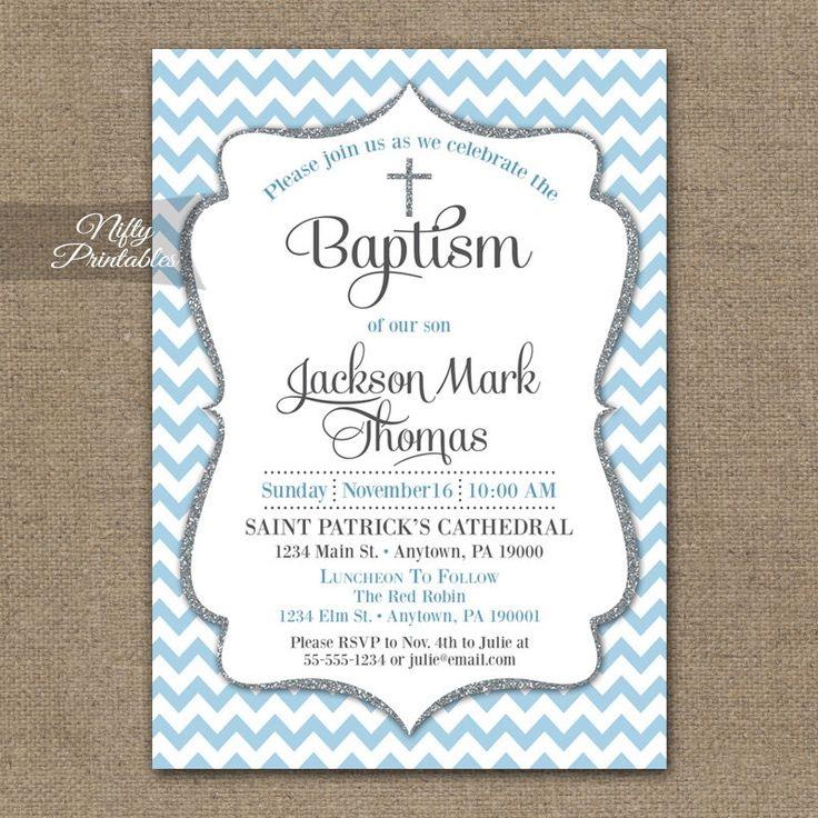 Blue Baptism Invitations - Printable Baby Blue Chevron Baptism Invitation For Boy - Boys Pastel Blue Silver Gray First Communion Invite BCH by NiftyPrintables on Etsy https://www.etsy.com/listing/235450885/blue-baptism-invitations-printable-baby