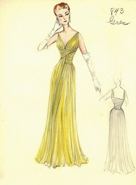 Madame Gres Evening Gown by FIT Library Department of Special Collections, via Flickr